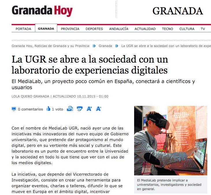 """""""La UGR se abre a la sociedad con un laboratorio de experiencias digitales"""" – Granada Hoy"""