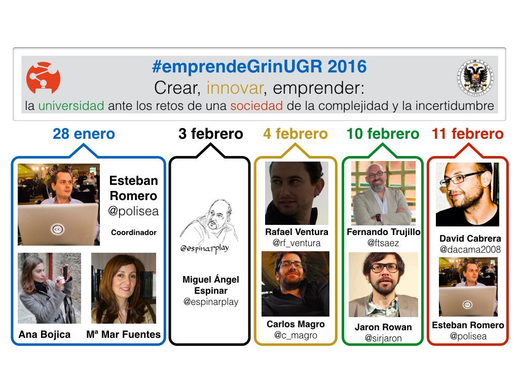 "Curso ""Crear, innovar, emprender"" #emprendeGrinUGR 2016"