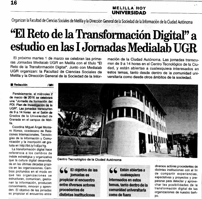 Las jornadas Medialab UGR en Melilla en la prensa local