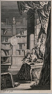 V0040734 A woman is sitting at a desk in a library, writing a letter. Credit: Wellcome Library, London. Wellcome Images images@wellcome.ac.uk http://wellcomeimages.org A woman is sitting at a desk in a library, writing a letter. Engraving by I. Taylor after himself. Published: - Copyrighted work available under Creative Commons Attribution only licence CC BY 4.0 http://creativecommons.org/licenses/by/4.0/