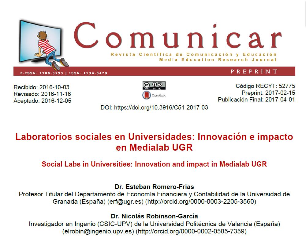 La Revista Comunicar publica un artículo sobre laboratorios sociales y el caso de MediaLab UGR