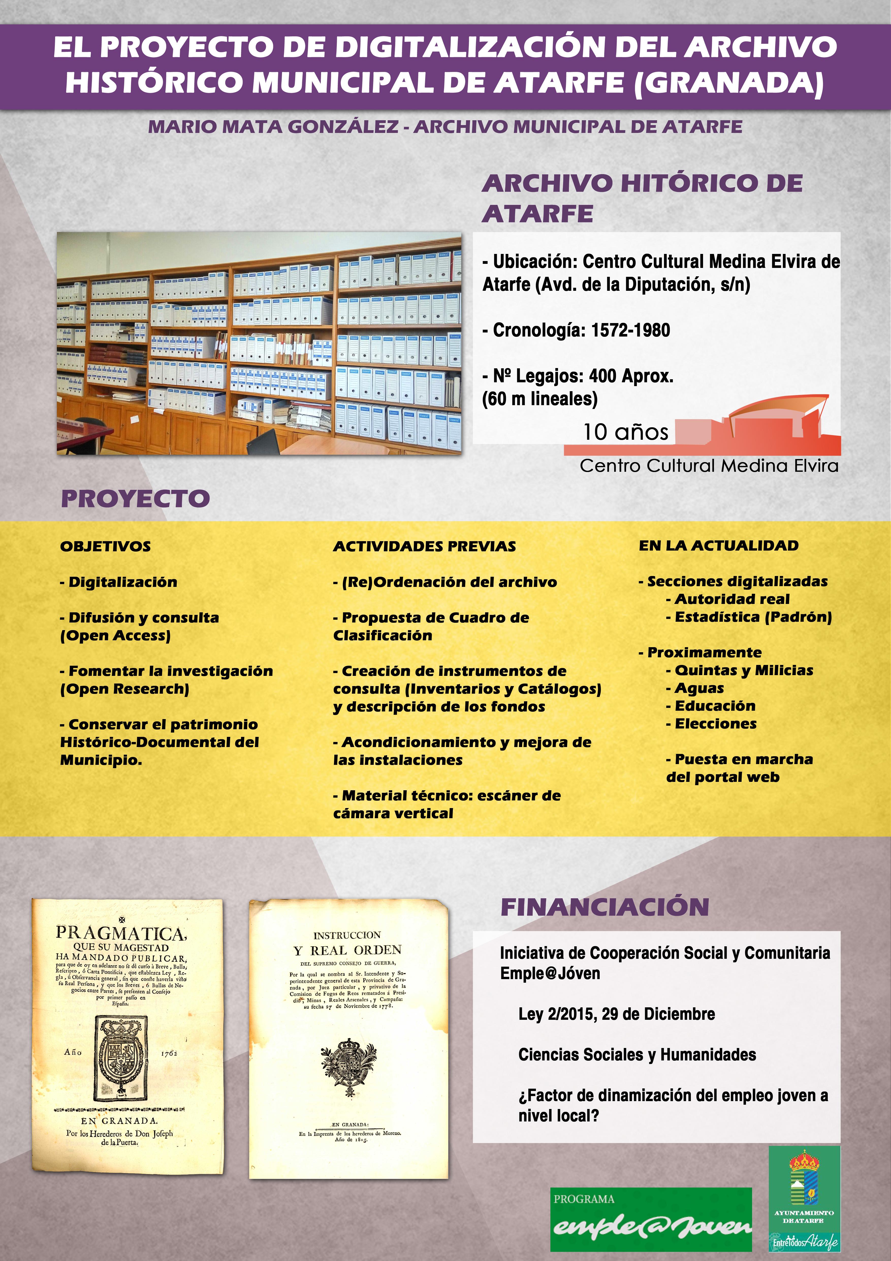 El proyecto de Digitalización del Archivo Histórico Municipal de Atarfe (Granada)