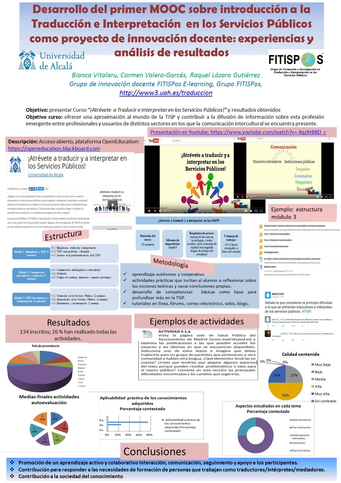 Desarrollo del primer MOOC sobre introducción a la Traducción e Interpretación  en los servicios públicos como proyecto de innovación docente: experiencias y análisis de resultados