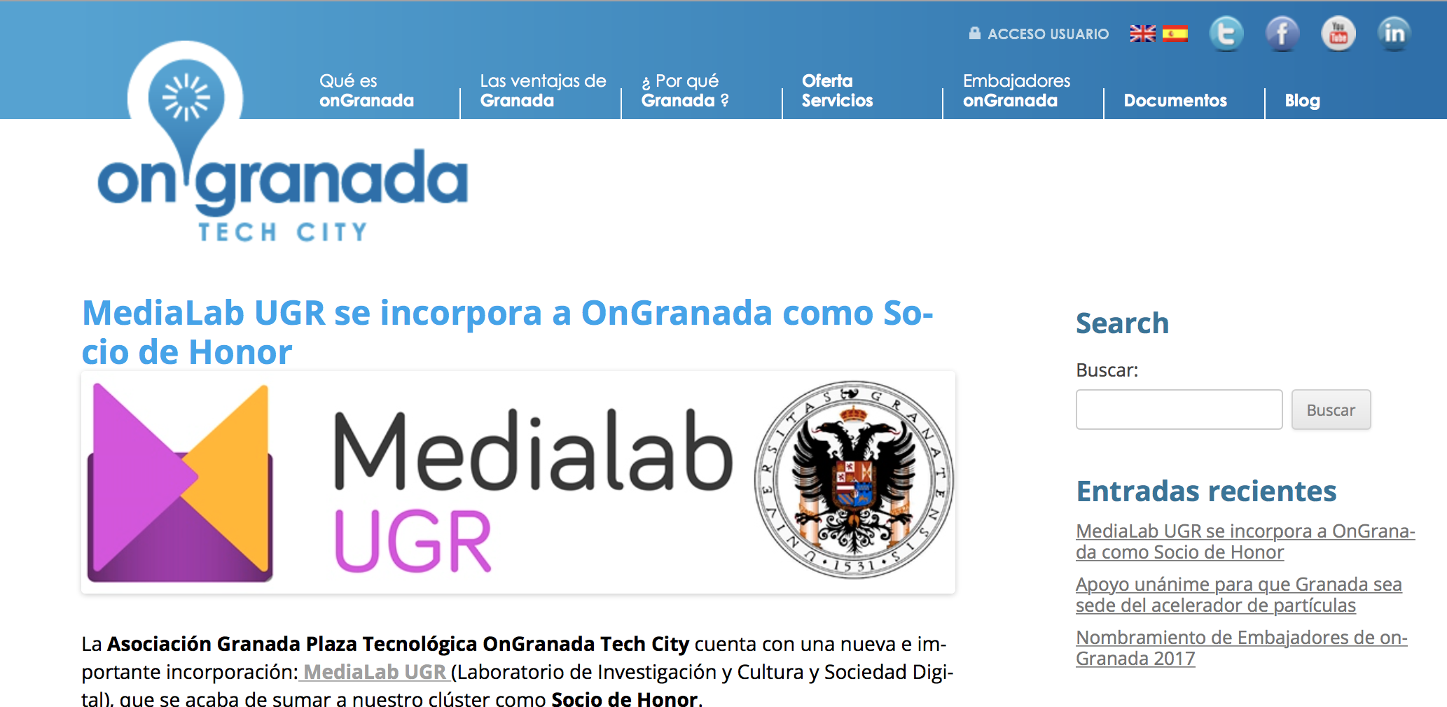 Medialab UGR, nuevo Socio de Honor de OnGranada Tech City