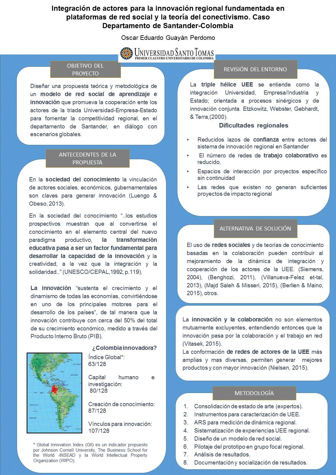 Integración de actores para la innovación regional fundamentada en plataformas de red social y la teoría del conectivismo. Caso Departamento de Santander-Colombia.