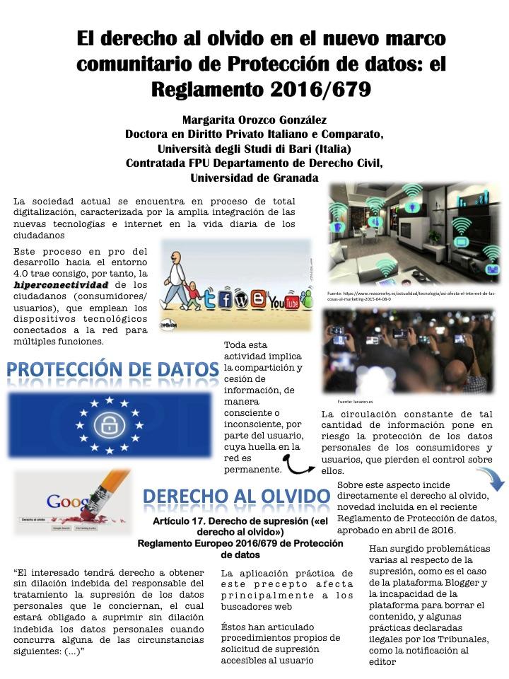 El derecho al olvido en el nuevo marco comunitario de Protección de datos: el Reglamento 2016/679