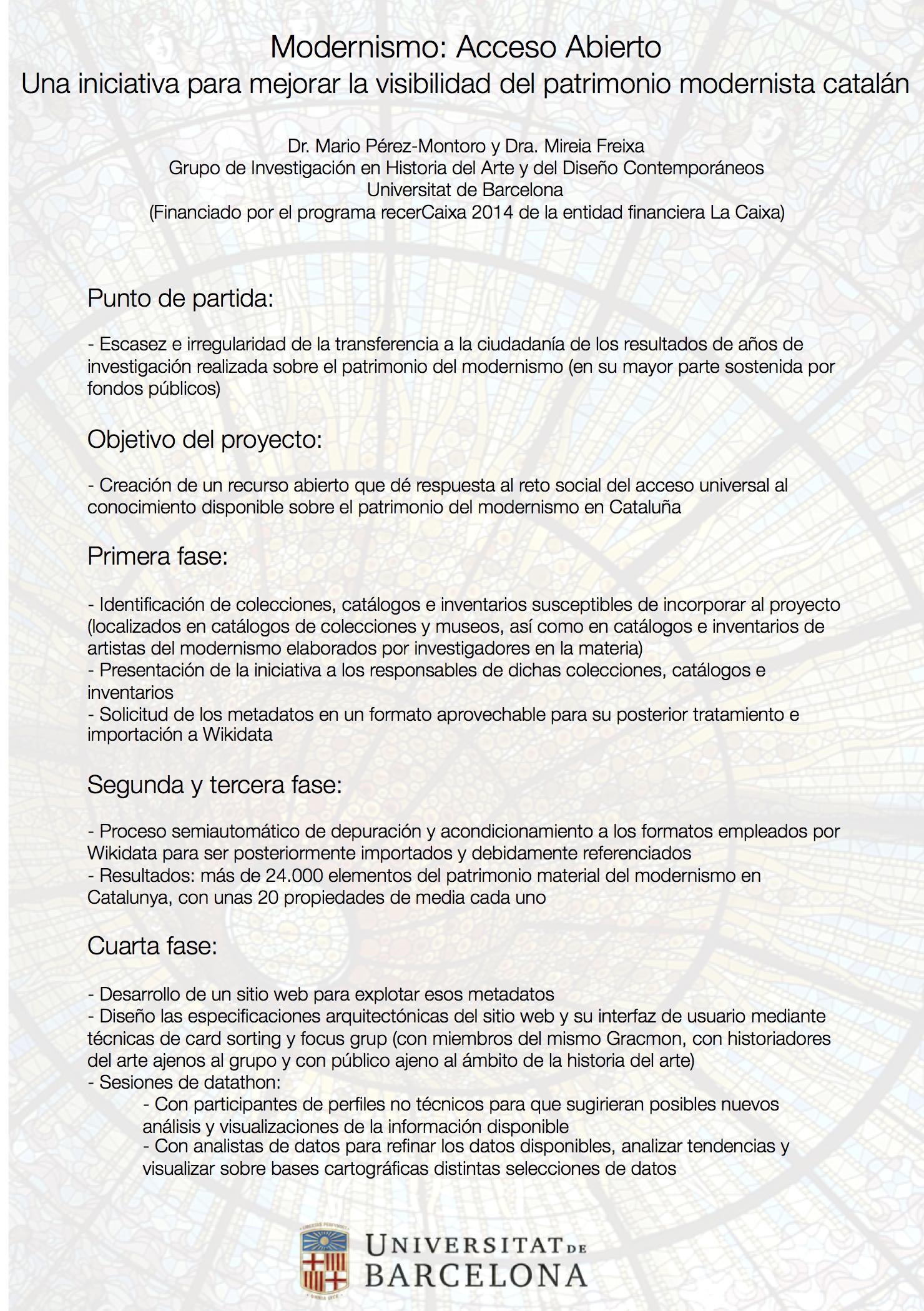 Modernismo: Acceso Abierto. Una iniciativa para mejorar la visibilidad del patrimonio modernista catalán