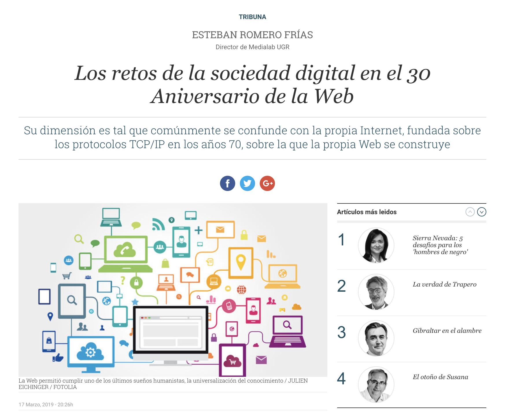 Los retos de la sociedad digital en el 30 Aniversario de la Web