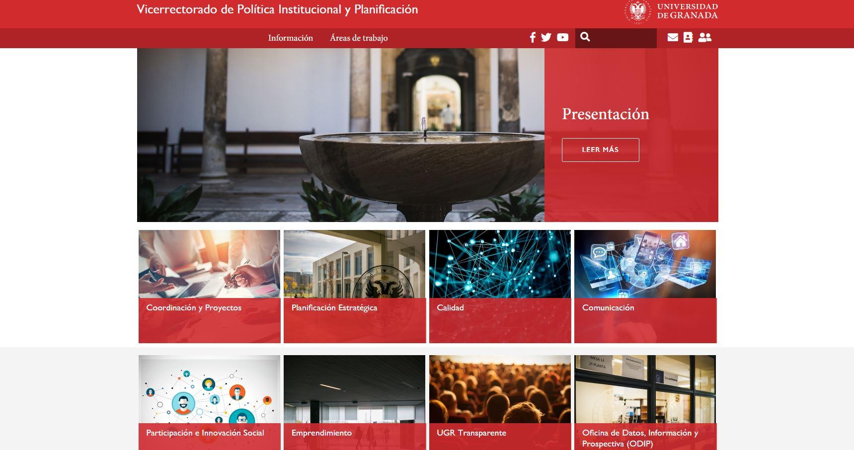 Ya disponible la web del Vicerrectorado de Política Institucional y Planificación