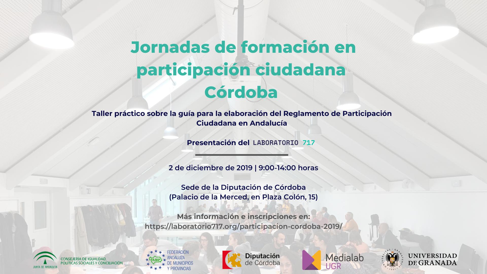 Jornada de formación en participación ciudadana Córdoba (2 de diciembre de 2019)