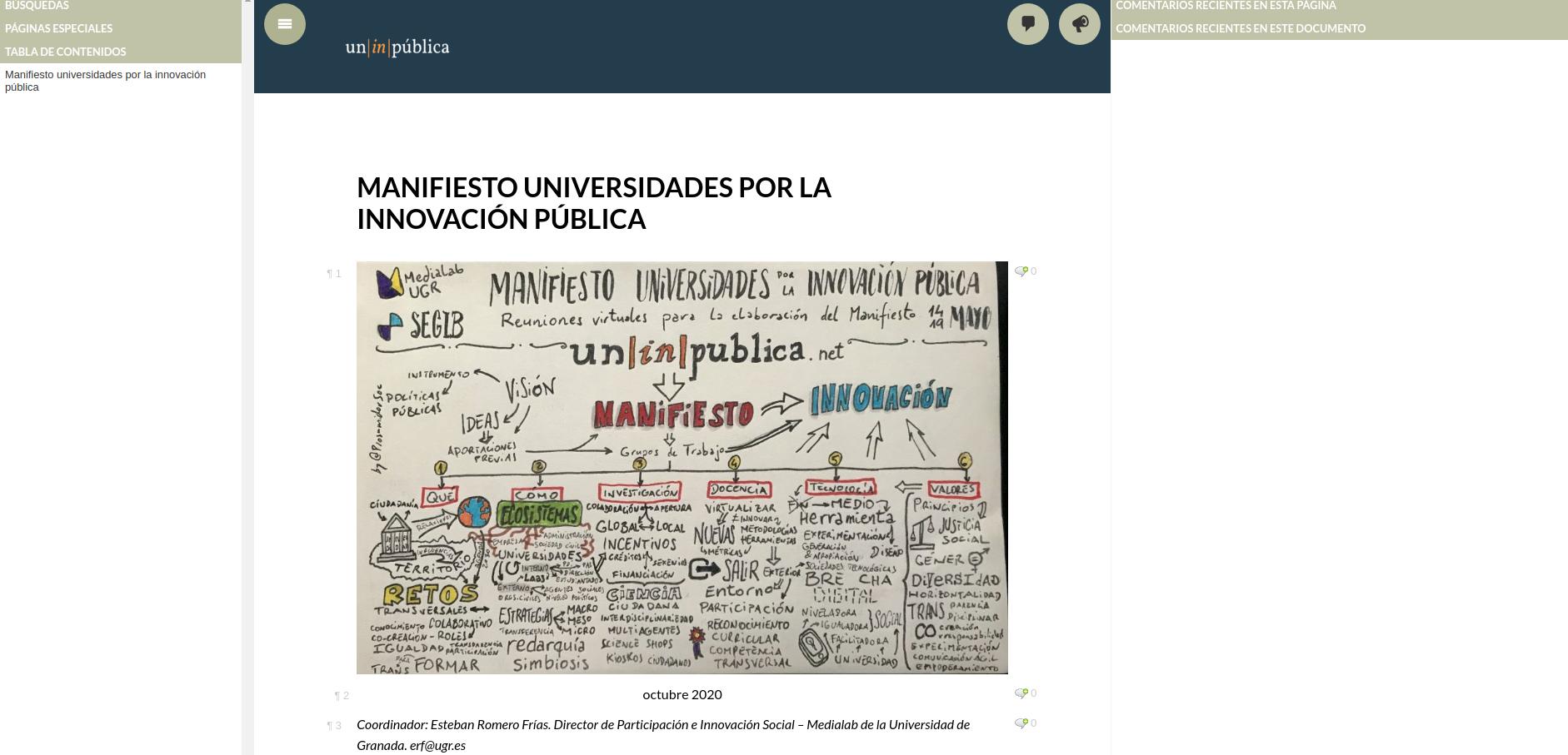Abierto a comentarios el borrador final del Manifiesto UnInPública