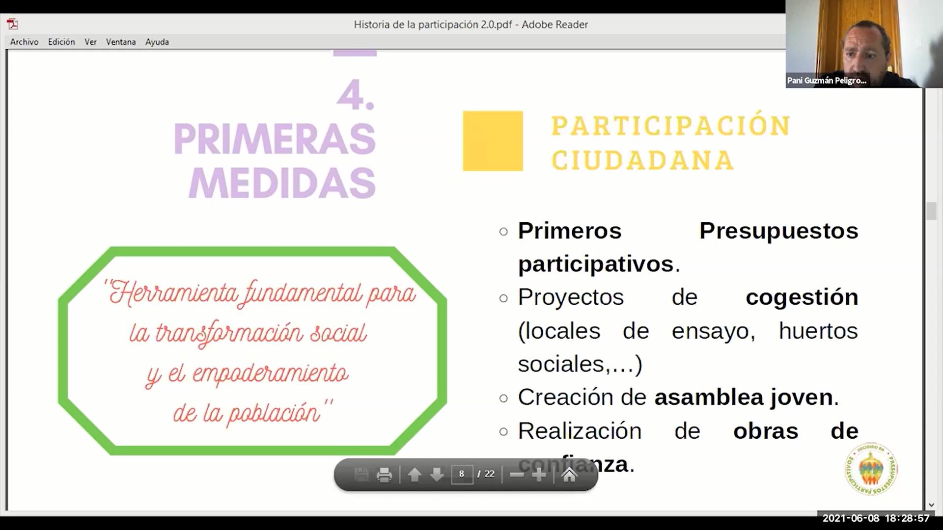 Presentación en la segunda sesión en el diseño de presupuestos participativos con jóvenes